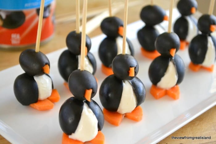 an army of little olive cocktail penguins