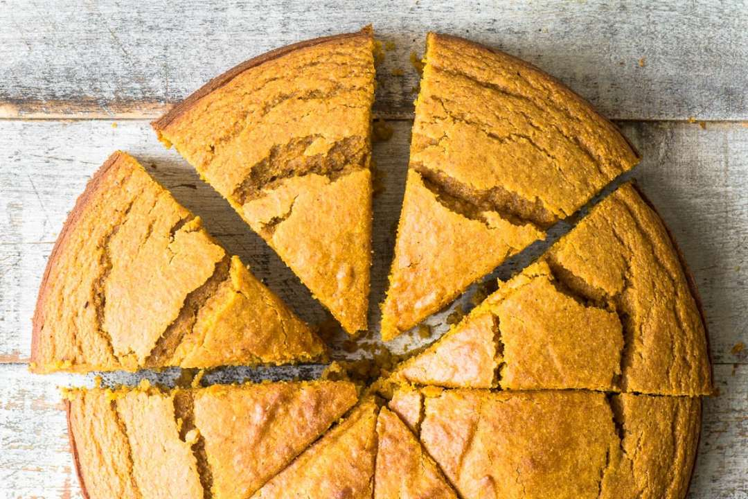 Pumpkin Cornbread on a wooden table