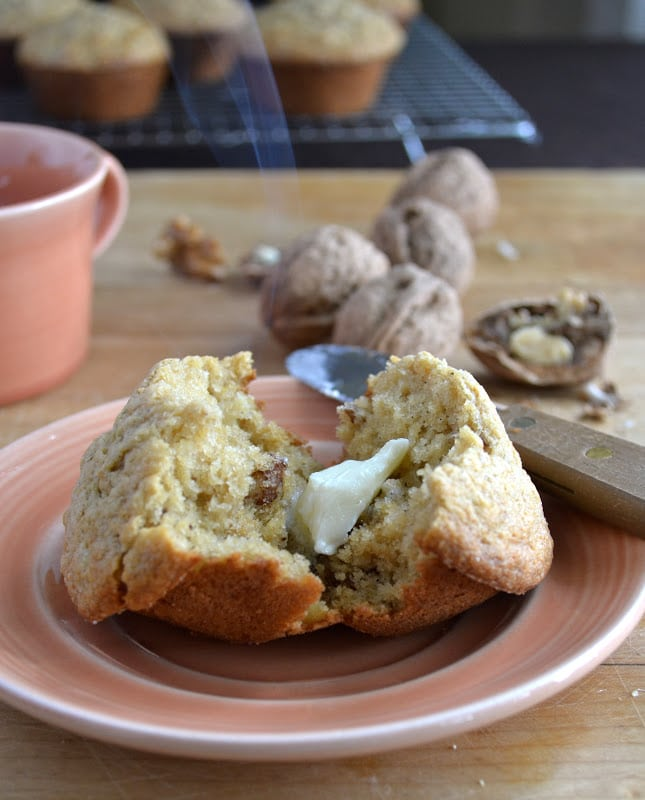 Parsnip Walnut Muffins with a pat of butter