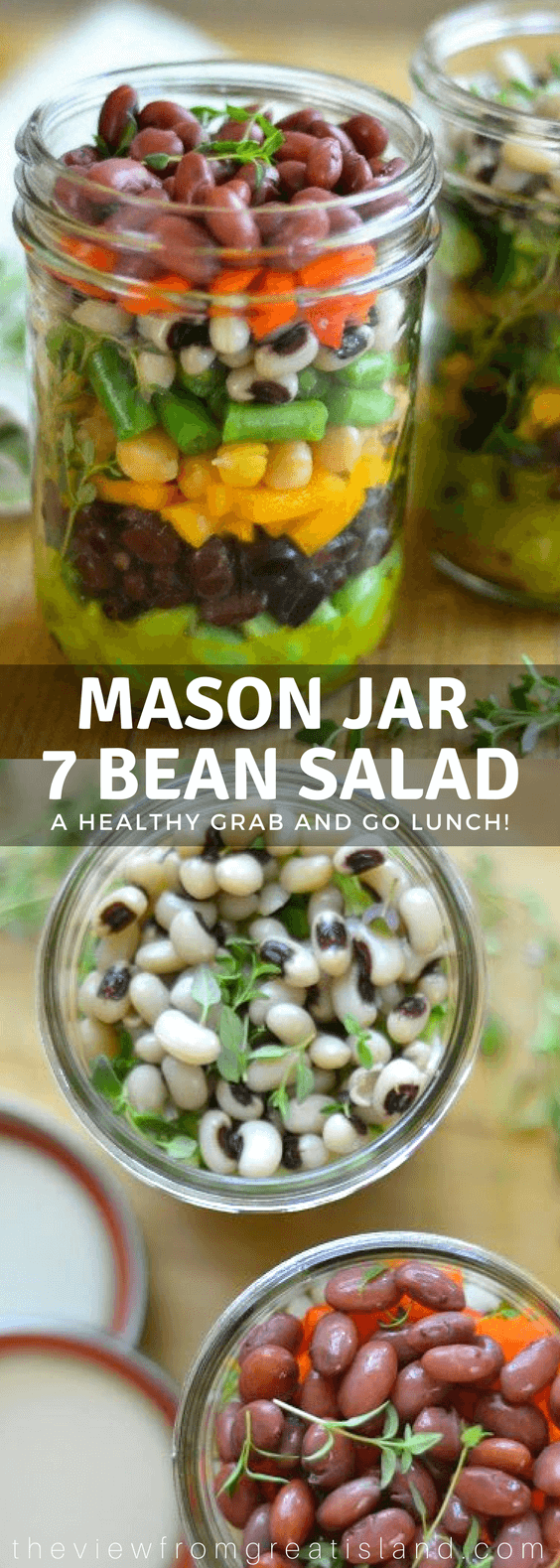 Mason Jar 7 Bean Salad ~ these healthy layered salad jars are the perfect grab and go lunch, put the dressing on the bottom, and flip them over when you're ready to eat! #healthy #salad #masonjar #layeredsalad #beansalad #9beansalad #picnic #Memorialday #4thofjuly #summersalad #nomayosalad #cannedbeans #blackbeans #blackeyedpeas