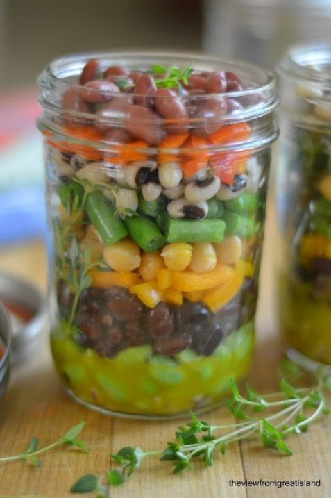 Photo of a jar of Mason Jar 7 Bean Salad