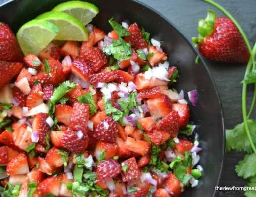 This Strawberry Jalapeno Salsa is really really good ~ juicy strawberries are tossed with lime, cilantro and finely minced red onion, with the added kick of jalapeño. You can use it on fish, tacos, chicken, meats, or just scoop it up with chips.