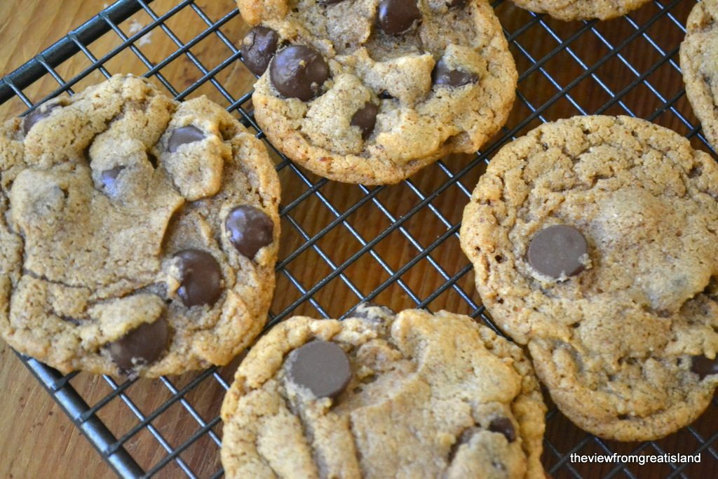 Overhead photo of Flourless Almond Butter Chocolate Chip Cookies on a baking rack.