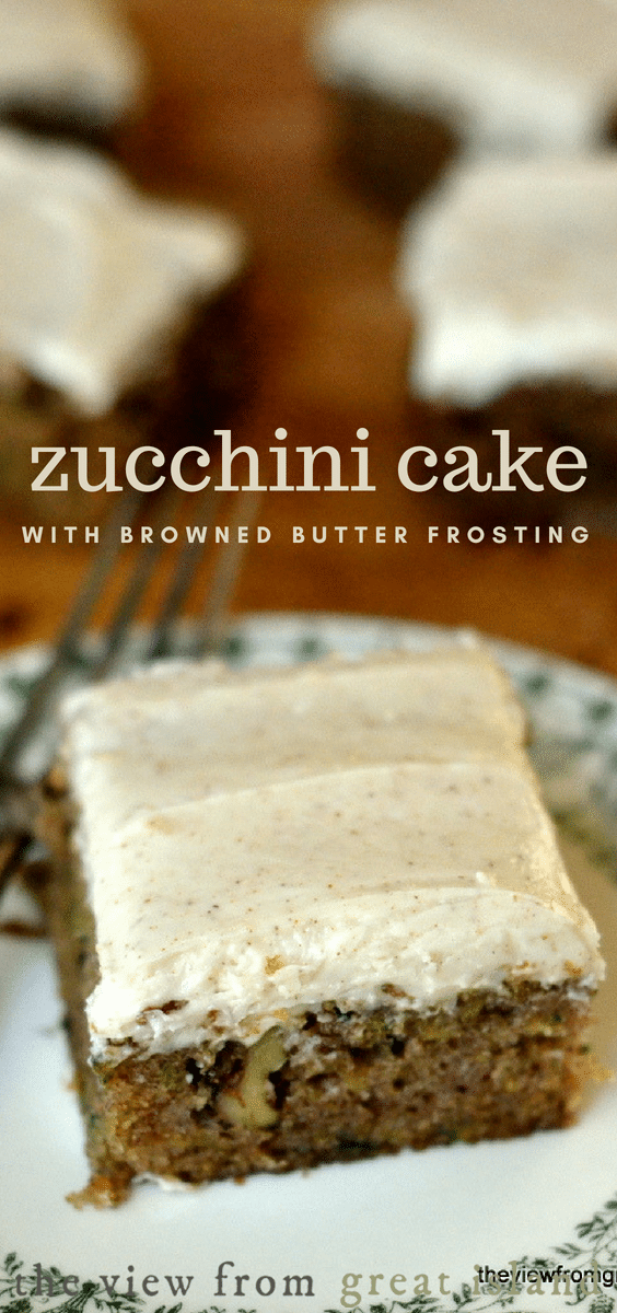 My Zucchini Cake with Browned Butter Frosting is moist, rich with nuts, and crowned with the most decadent frosting ---- zucchini never had it so good! #cake #homemade #snack #easy #recipe #zucchinibread #dessert #brownedbutter #frosted