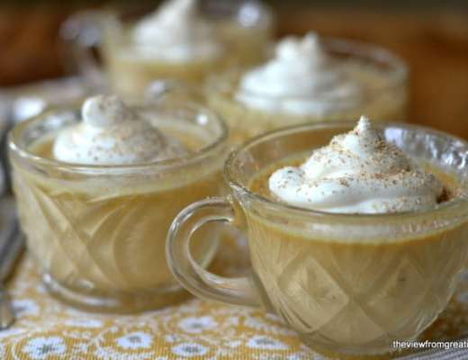 Pumpkin Pot de Creme in vintage punch glasses with whipped cream