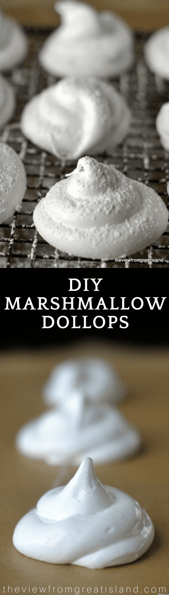 Who says marshmallows have to be square? These little DIY marshmallow Dollops fit perfectly on a cup of cocoa, and look prettier, too! #homemademarshmallows #hotcocoa #hotchocolate #marshmallows #dessert #holidaydessert #Christmas #holidays #cocoa