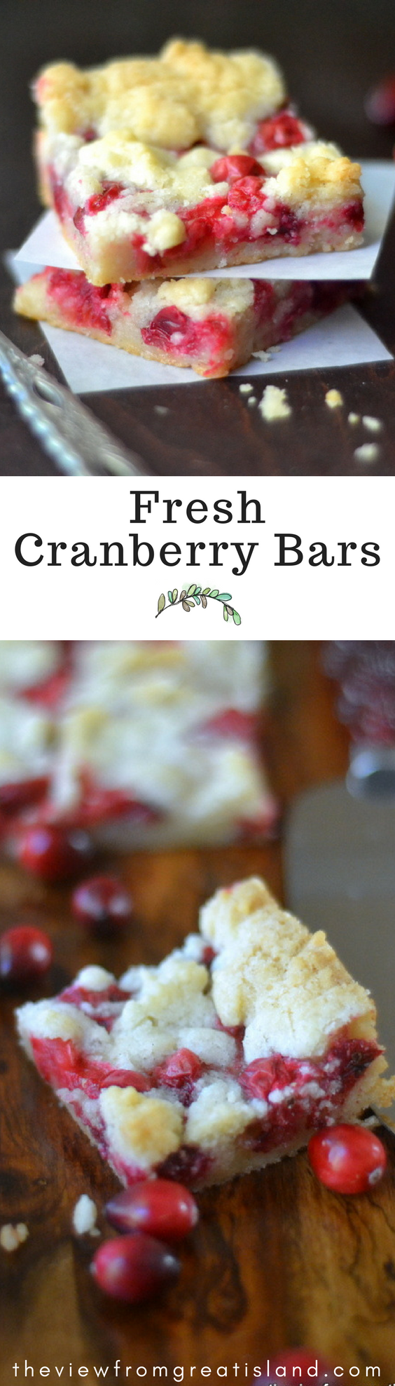 Fresh Cranberry Bars ~ these buttery shortbread crumble bars are bursting with fresh tart cranberries and the combination is pure heaven! #dessert #cranberrycake #cranberries #Christmas #holidays #fall #freshcranberries #shortbread #bars #crumble