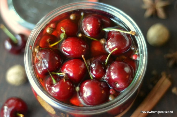 Spiced Cocktail Cherries in a glass jar