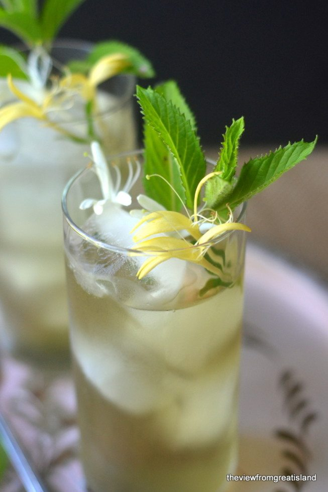 Photo of two glasses of Honeysuckle Iced Tea garnished with mint and honey suckle blossoms.