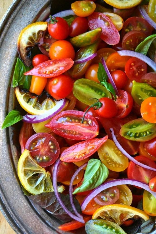 Tomato Onion and Roasted Lemon Salad