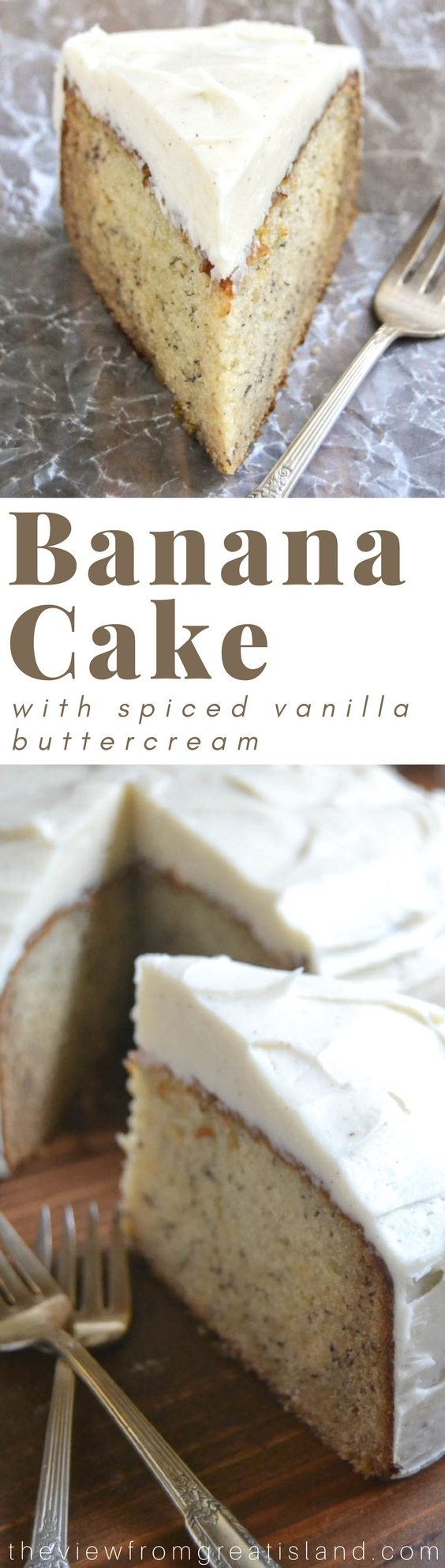 Banana Cake with Spiced Vanilla Buttercream is probably the most luxurious  outcome imaginable for those over ripe bananas on your counter!  If you love banana bread you're going to flip for this easy banana snack cake. #bananacake #banana #cake #dessert #buttercream #spicedbuttercream #frosting #baking #bananabread #snackcake
