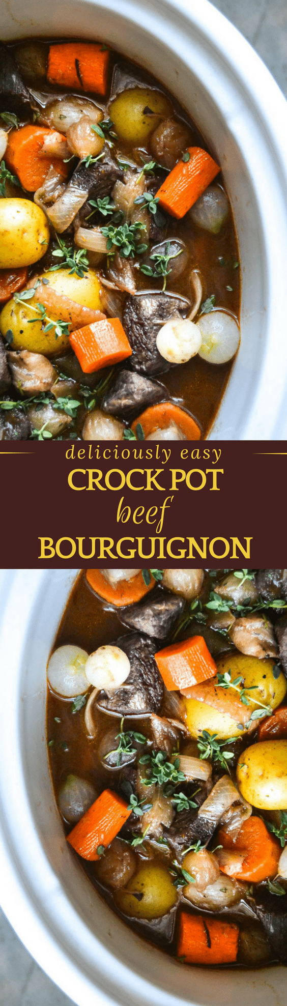 Slow Cooker/Crock Pot Beef Bourguignon is a fix it and forget it meal at its finest ~ this pared down version of the fancy French dish will get rave reviews! #crockpot #slowcooker #beef #certifiedangusbeef #dinner #stew #beefstew #bourguignon #french #beefstewrecipe #comfortfood