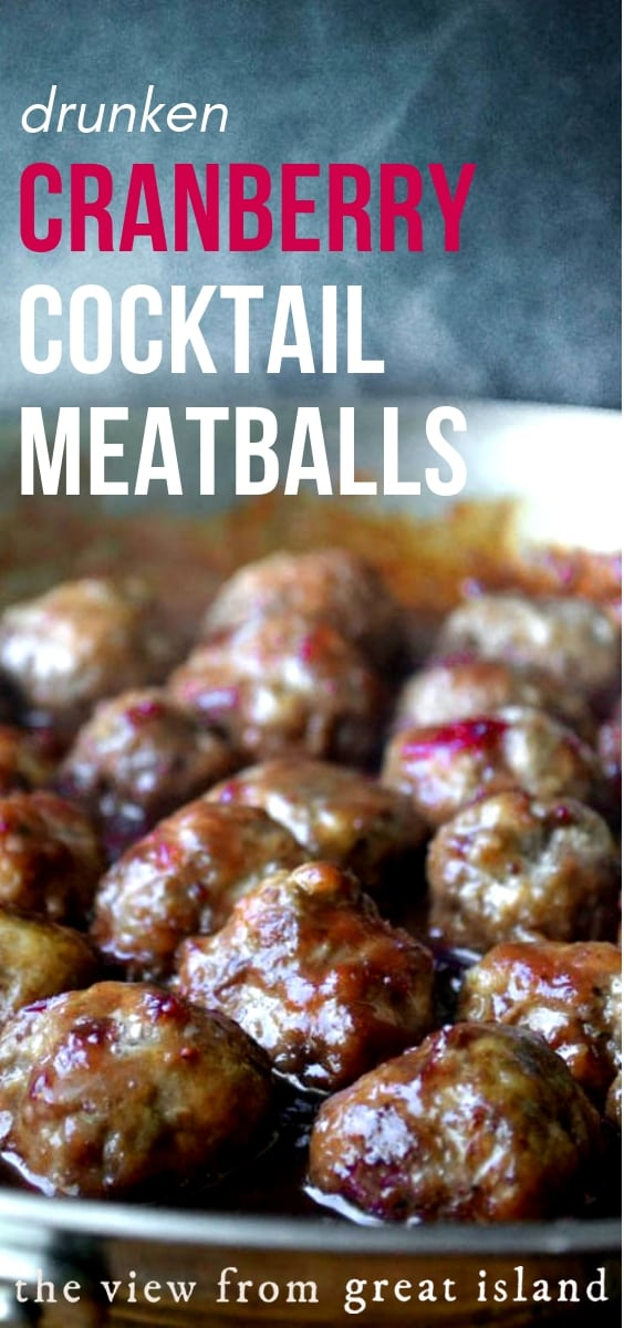 Drunken Cranberry Cocktail Meatballs ~ tender meatballs in a cranberry bourbon barbecue sauce ~ oh yeah! #cocktailmeatballs #meatballs #cranberrymeatballs #appetizer #cranberry #fall #thanksgiving #thanksgivingfood #thanksgivingappetizer
