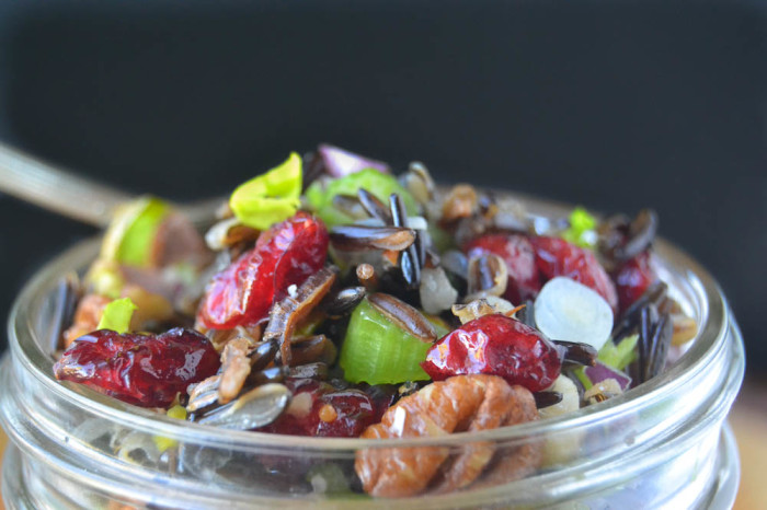 Healthy Wild Rice Salad with Cranberries and Nuts