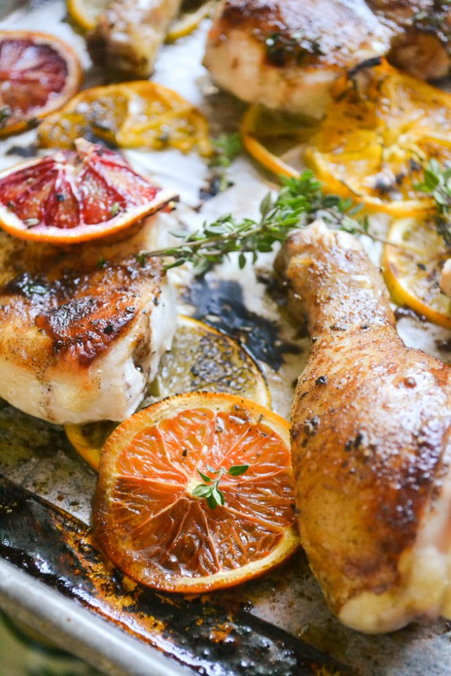 Roasted Chicken with an allspice and citrus glaze