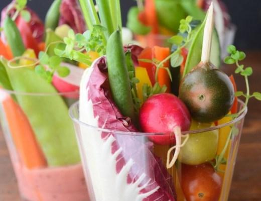 finger salad cups with rhubarb vinaigrette
