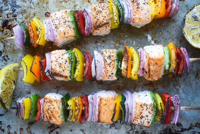 juicy chunks of salmon threaded with rainbow peppers