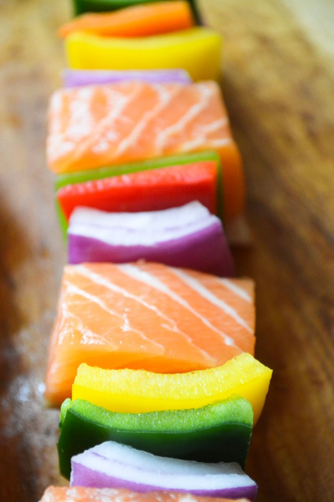 salmon and colorful peppers ready for the grill