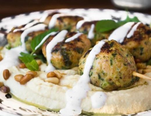 hummus with juicy turkey zucchini meatballs