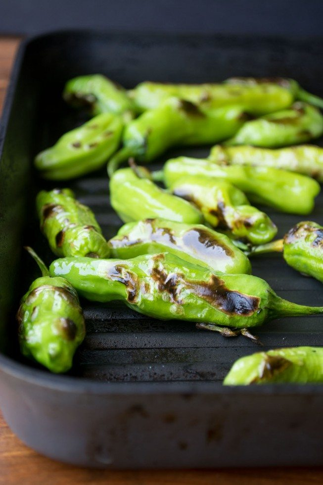 Photo of grilled shishito peppers on a grill pan.