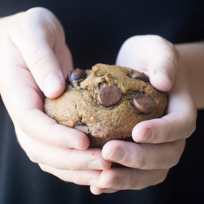 The goodness of 7 whole grains baked up in a pumpkin chocolate chip muffin