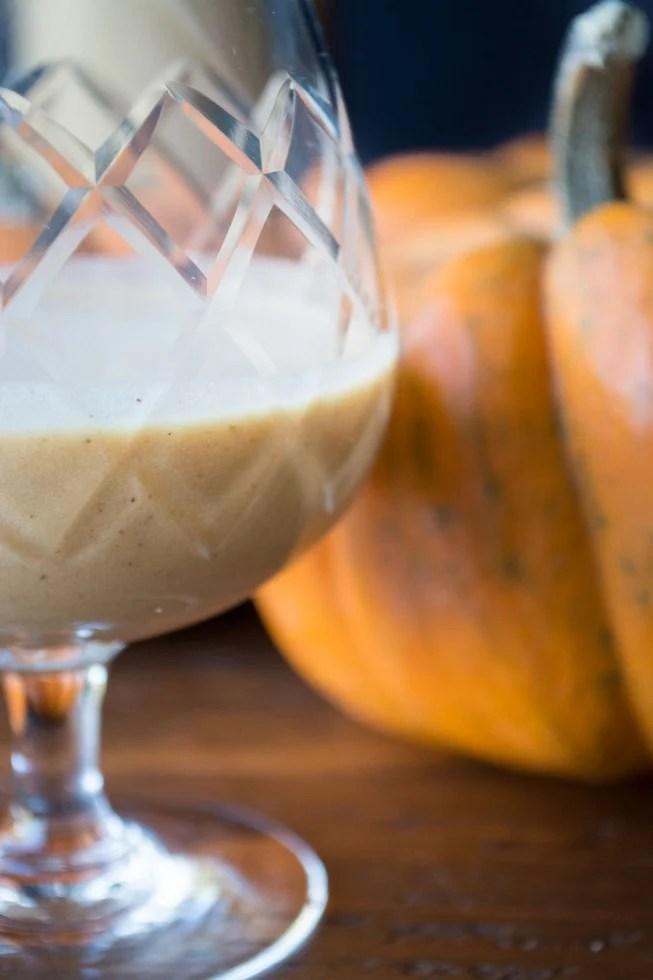 An easy recipe for homemade Pumpkin Liqueur made with pumpkin puree, fresh cream, spices, and dark rum