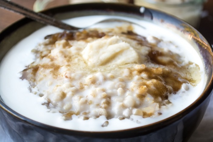 Overnight Steel Cut Oats with Whiskey Butter