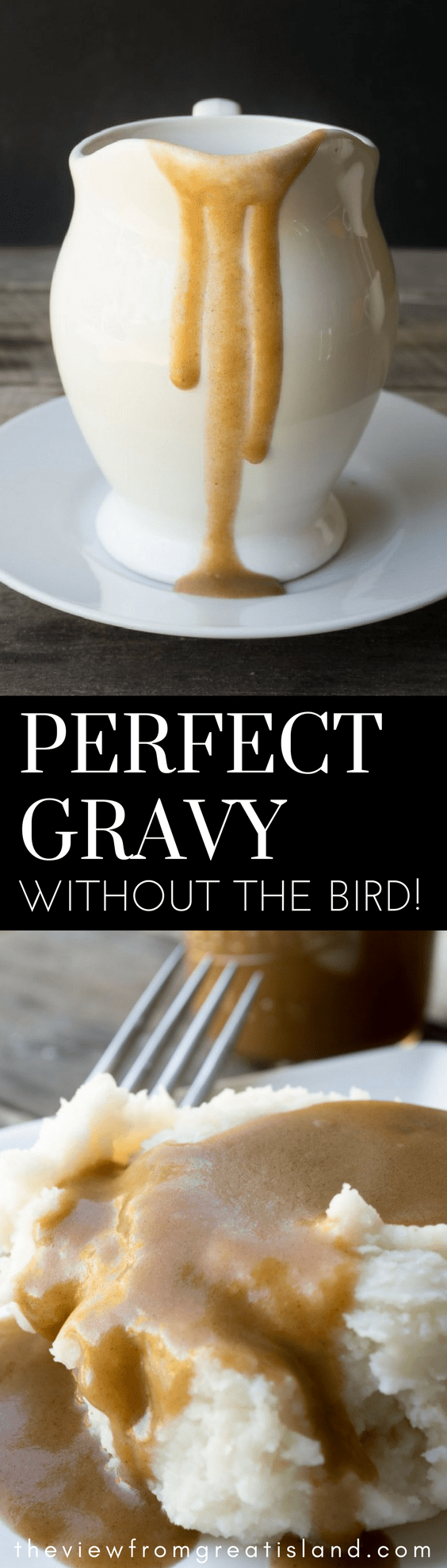 Perfect Gravy Without the Bird ~ an easy no drippings gravy recipe that you can make without roasting an entire turkey! This quick browned flour gravy will be your new best friend for the holidays and weeknight dinners all year long. #easygravy #instantgravy #gravy #bestgravy #Thanksgiving #Christmas #nodrippingsgravy #brownedflour #pangravy #homemadegravy