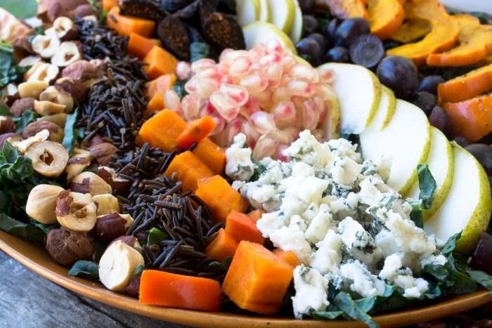 Harvest Kale Salad with Pomegranate Vinaigrette