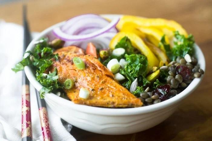 Kale, Lentil and Salmon Salad Bowl