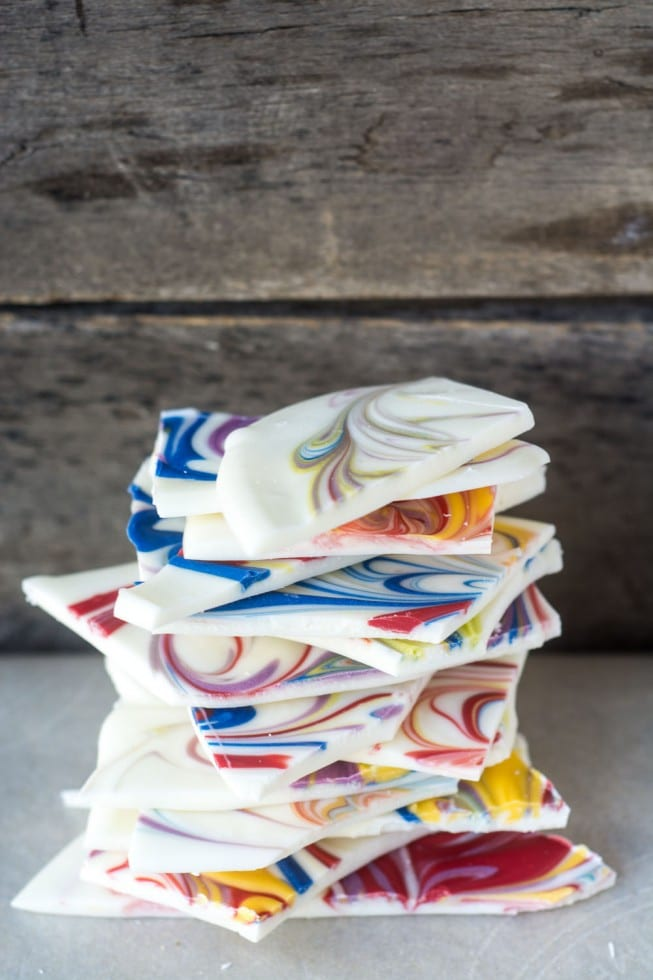 Beautiful Marbleized Chocolate Bark --- the perfect springtime treat for Easter, Mother's Day, showers, and weddings