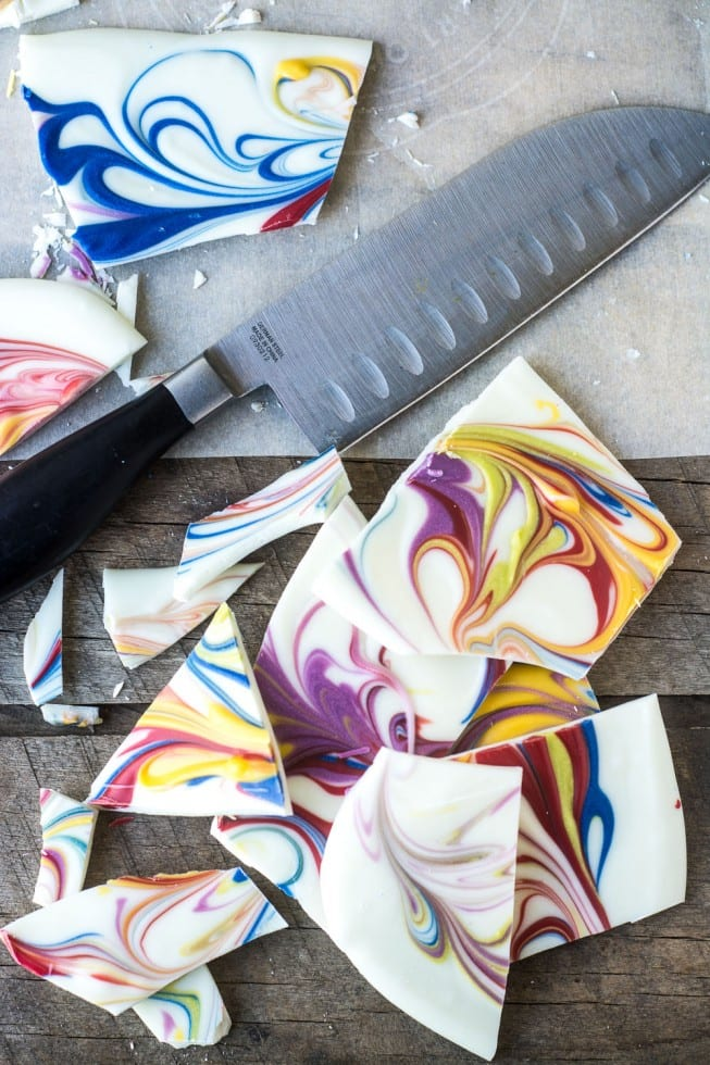 Marbleized Chocolate Bark is a fun Easter or Mother's Day project