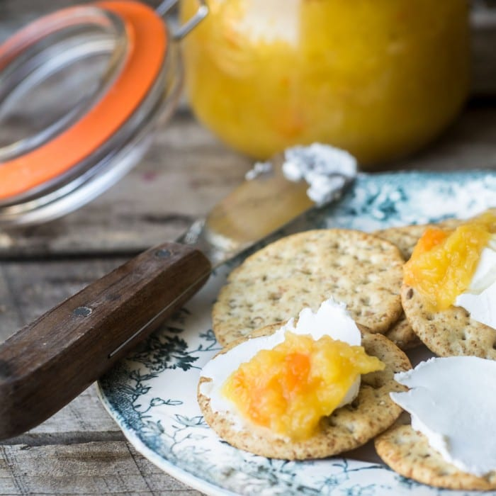 Pineapple Habanero jam with cheese and crackers