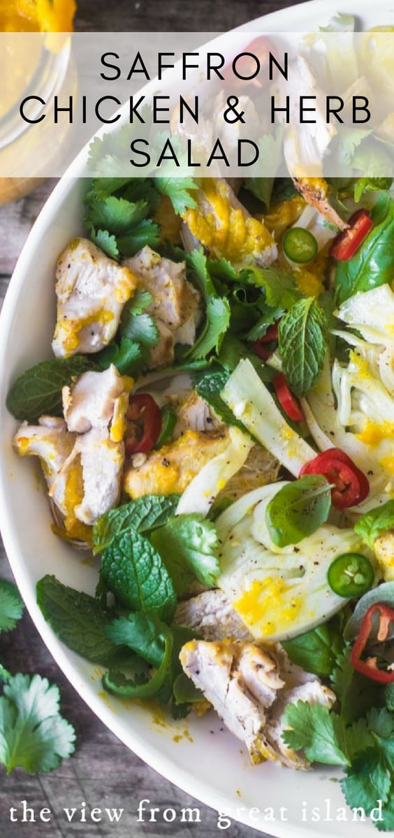 Saffron Chicken & Herb Salad is a unique and explosive combination of flavors --- I guarantee it's like no other chicken salad you've ever had! #chicken #salad #recipe #ottolenghi #saffron #lunch #healthy #easy #brunch #chickensalad