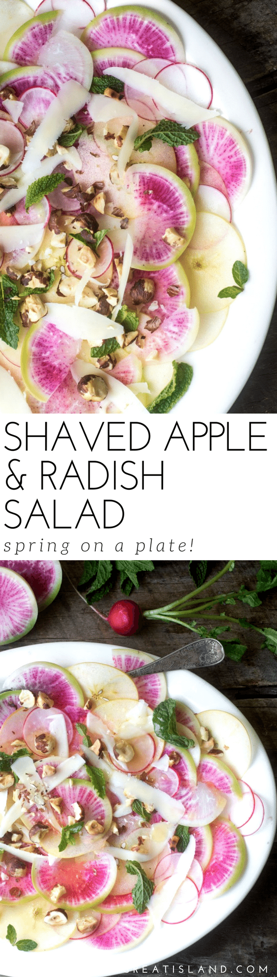 The pastel shades of this Shaved Apple and Radish Salad just scream spring --- it's perfect for a Mother's Day or Easter brunch, or maybe a date night dinner for two . #salad #shavedsalad #radishes #healthy #lowcalorie #weightwatchers #paleo #whole30 #glutenfree #lowfat #Easter #mothersday #brunch #shower