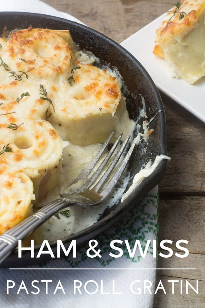 Ham and Swiss Pasta Roll Up Gratin --- the name doesn't exactly roll off the tongue but man this goes down easy --- paper thin slices of Black Forest ham and Swiss rolled up in fresh pasta sheets and baked into a classic creamy French gratin ! #hamandswiss #pastagratin #pasta #gratin #hamandcheesepasta #skilletdinner #bakedpastarecipe #dinner