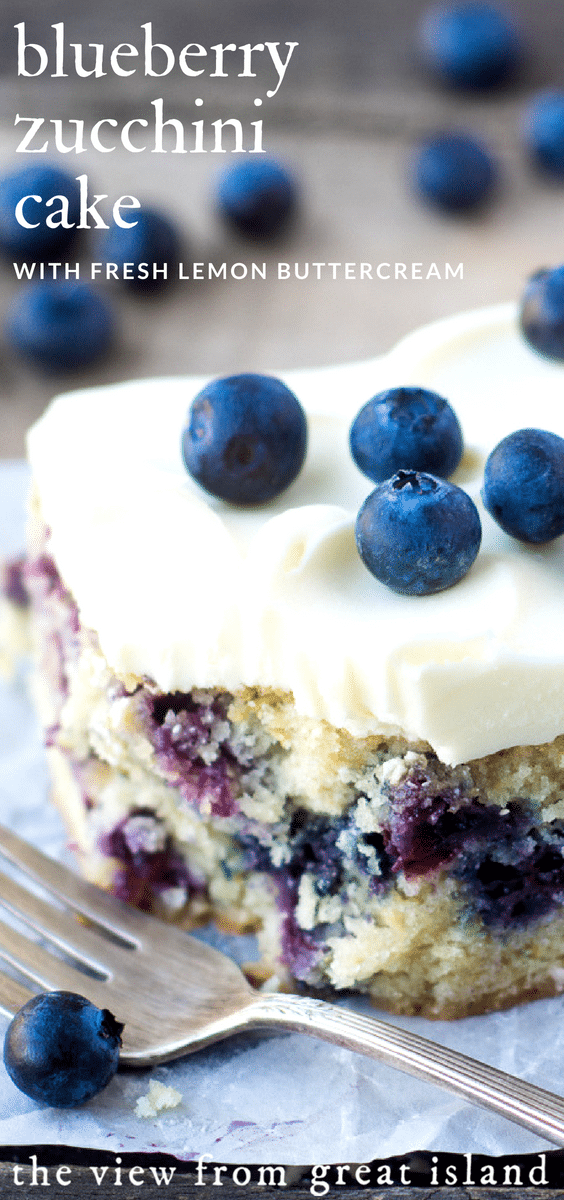 Blueberry Zucchini Snack Cake with Lemon Buttercream ~ this easy snack cake combines the best of summer. #homemade #recipe #blueberryzucchini #zucchinicake #blueberrycake #summercake #sheetcake #dessert #blueberries #lemonfrosting #partycake #snackcake #lemoncake #berries #zucchinibread