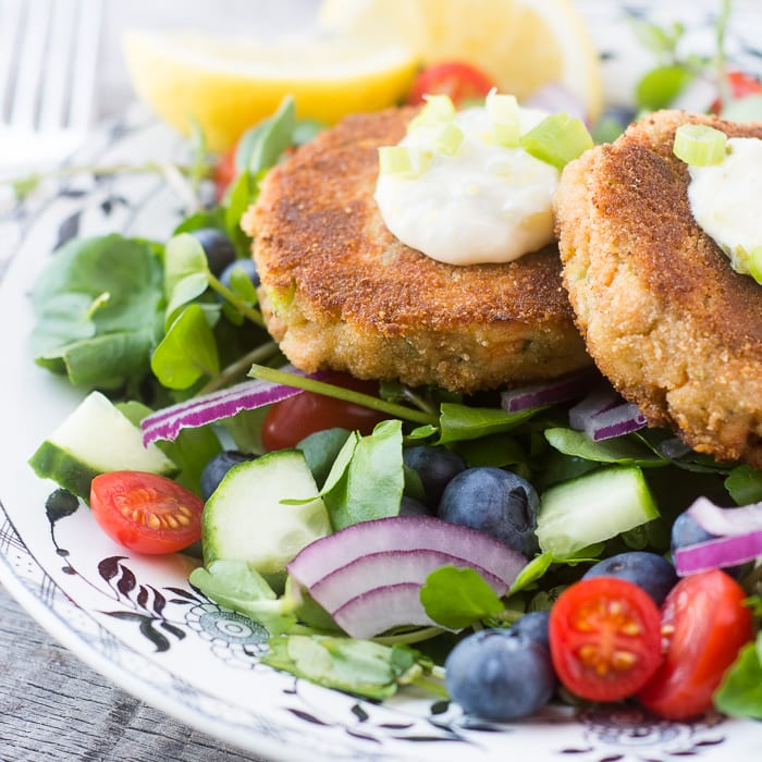 Salmon and Zucchini Burgers is a delicious and elegant 30 minute meal ~ theviewfromgreatisland.com