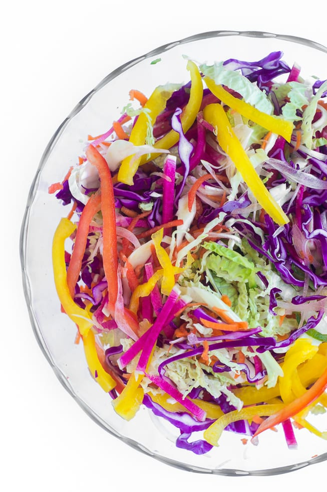 Spicy Rainbow Slaw is the perfect side for all your summger meals   theviewfromgreatisland.com