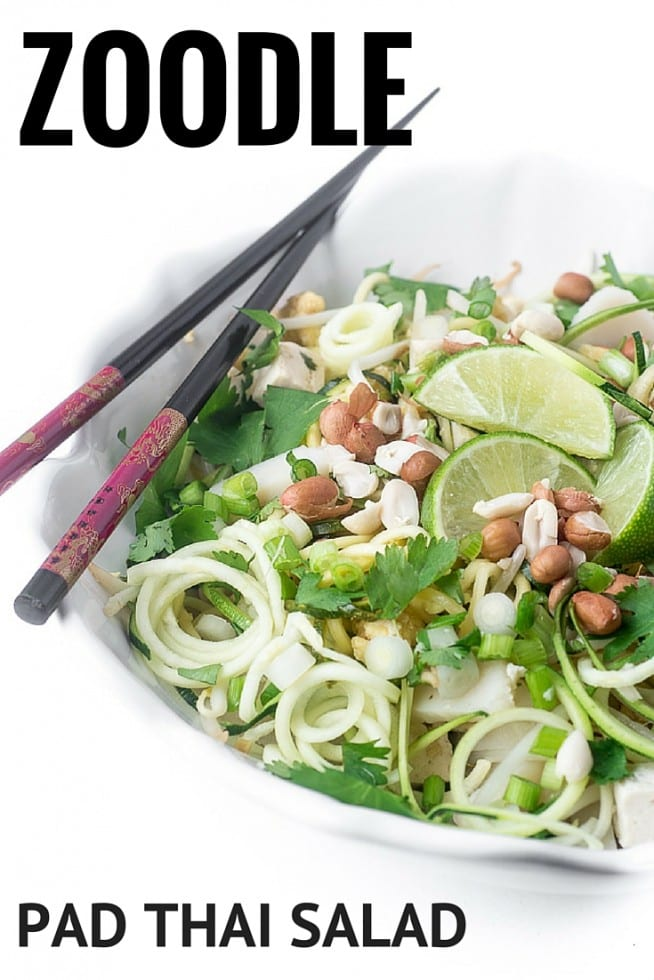 Zoodle Pad Thai Salad is a light and refreshing take on the classic Thai street food! | theviewfromgreatisland.com
