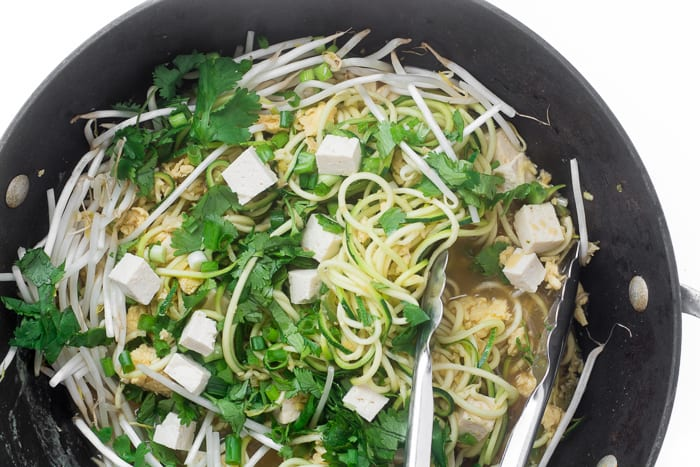 Stir frying Zoodle Pad Thai | theviewfromgreatisland.com