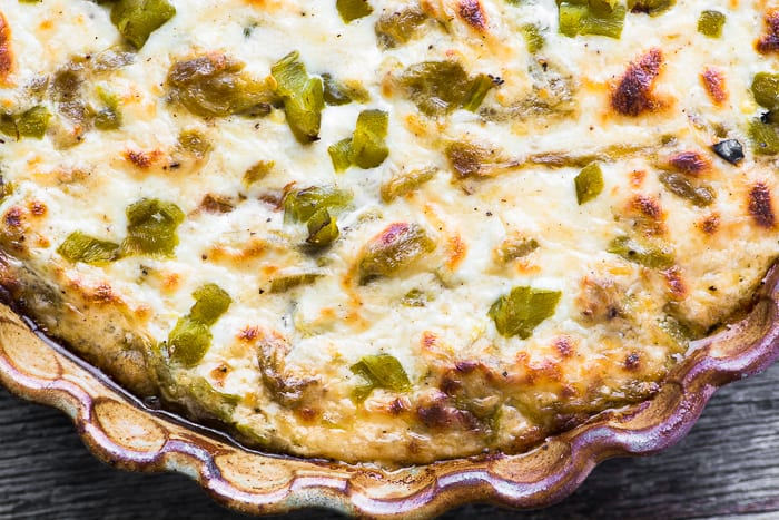 Cheesy Hatch Green Chile Dip is the ultimate Big Game appetizer! | theviewfromgreatisland.com