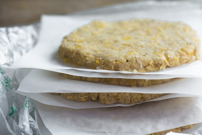 Chickpea Veggie Burger patties ready to cook or freeze ~ theviewfromgreatisland.com