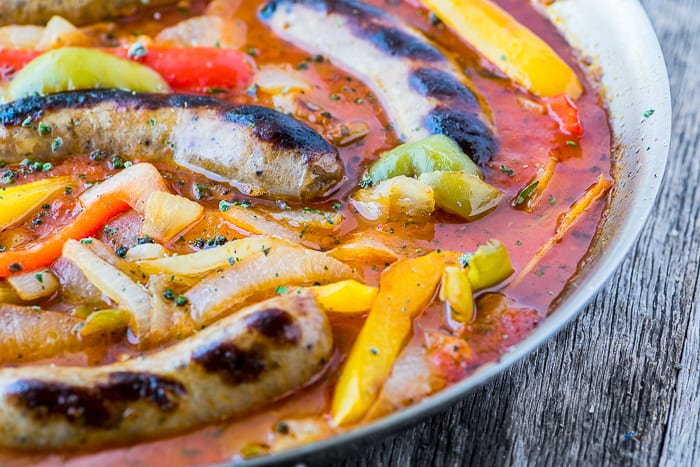 Easy Sausage and Peppers Recipe is the ultmate Italian comfort food ~ the whole family loves it! | theviewfromgreatisland.com