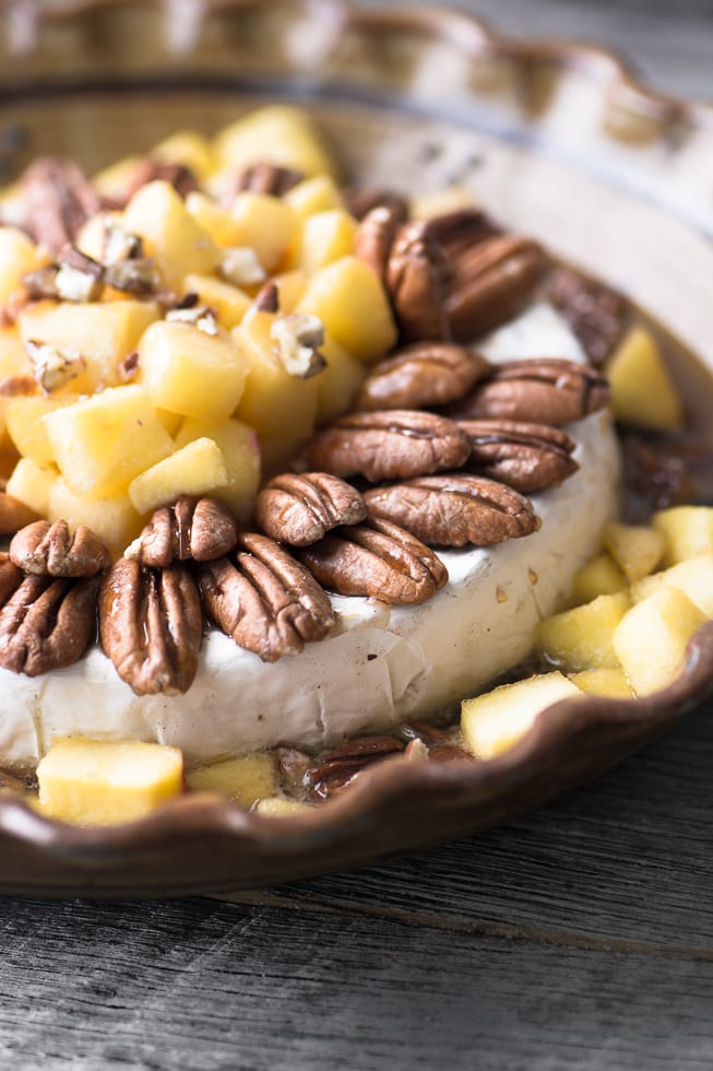 Maple Baked Brie with Apples and Pecans is a warm, hearty appetizer with that 'wow' factor. ~ theviewfromgreatisland.com