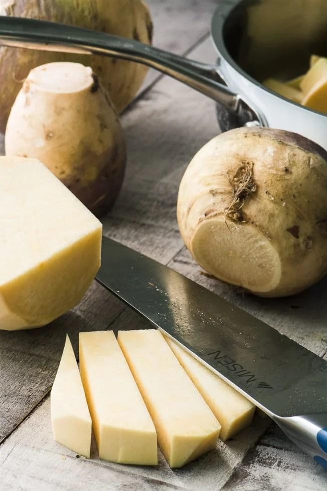 Preparing Buttered Rutabaga ~ theviewfromgreatisland.com