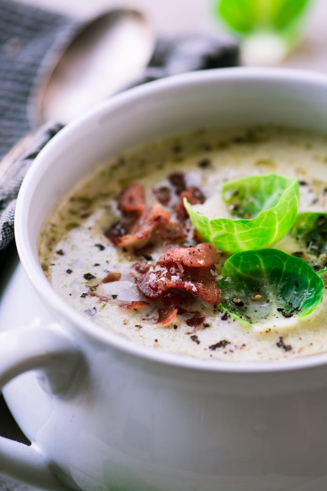 Creamy Brussels Sprout and Bacon Soup is a hearty, comforting meal for a chilly night ~ theviewfromgreatisland.com