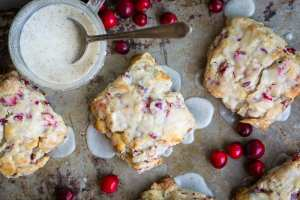 Fresh Cranberry Scones with white chocolate chips and a vanilla bean glaze ~ theviewfromgreatisland.com
