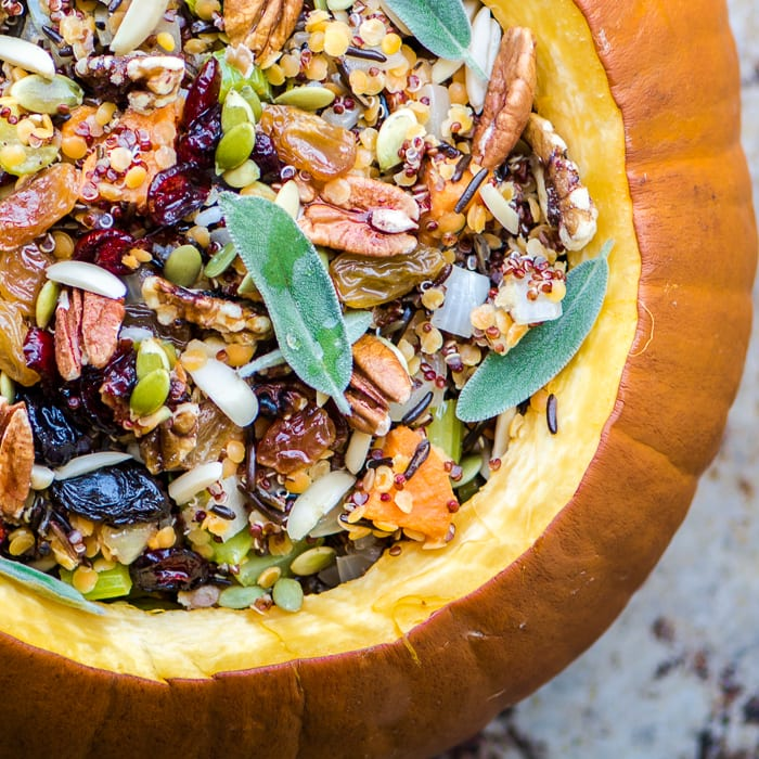 The Great Stuffed Pumpkin is a spectacular vegan side or main dish for the holiday season ~ theviewfromgreatisland.com