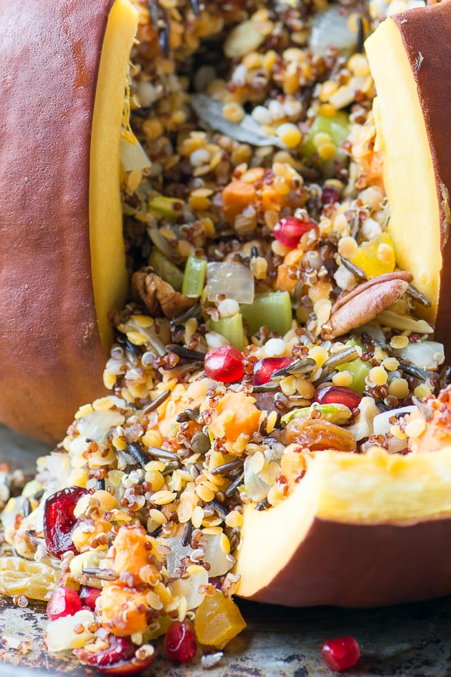 The Great Stuffed Pumpkin ~ a whole roasted pumpkin filled with a multi-grain pilaf, dried fruits, nuts, and veggies, or a spectacular side dish or vegan main course! ~ theviewfromgreatisland.com